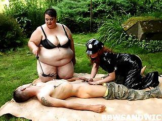 Chubby Redhead And Super-sized Bbw Slut In Femdom Threesome