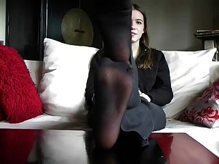 Beautiful Stinky Black Nylon Feet To Cum On!