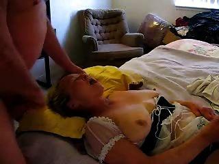 Old Slut Eating Cum While She Masturbates