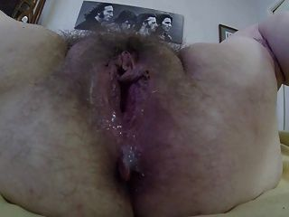 Opening A Huge Hairy Dirty Wet Mature Granny Pussy