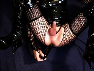 Dildo Fuck And Cumshot In Latex And Thigh Boots