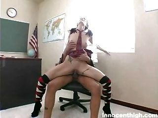 Slender Teen Pumping Hard On Her Professors Cock