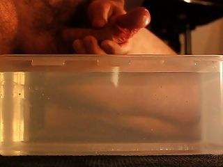 Cum Inside Plastic Container With Hot Water
