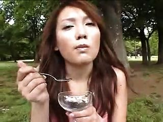 Japanese Girl Eating Cum On Food