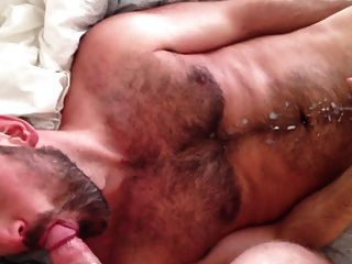 Hairy Dude Cums While Sucking Cock