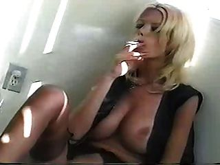 Big Tit Blonde Smoking Masturbation