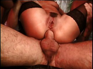 Hot Brunette Vs 3 Cocks