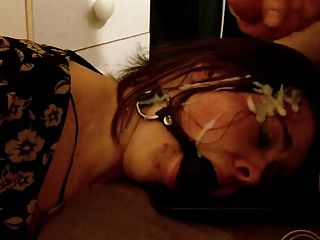 Gagged Submissive Gf Gets A Facial