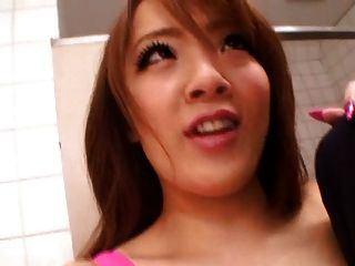 Asian With Gigantic Big Tits In Public Bathroom