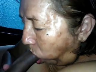 Old Latin Granny Gives Blowjob