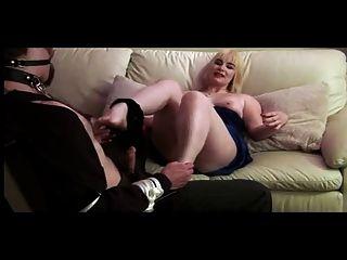 Hairy Femdom Blonde Teases Her Sub