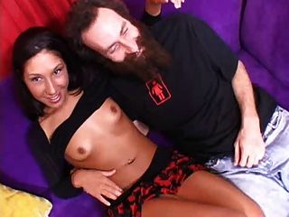 Sexy Brunette Girl Love Fuck Her Tight Pussy With Beardman