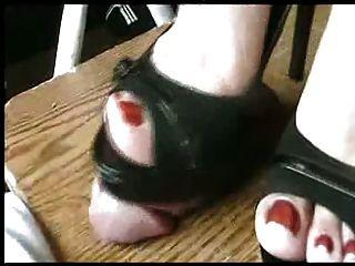 Sexy Black Peeptoe Heels Milks Cock