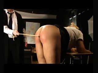 Bdsm Caning - Eight Strokes Over Bare Bottom