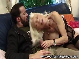 Pierced French Mature In Stockings Riding Cock