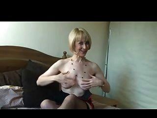 British Mature Stockings Tease