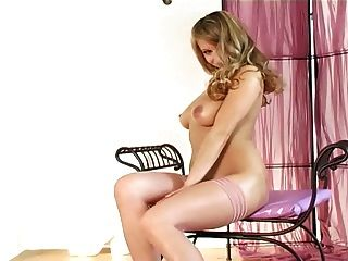 Busty Blonde Lingerie Tease In Sheer Stockings