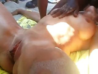 French Mature Is Squirted On The Beach By Africans