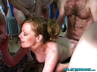 British Redhead Holly Kiss Gangbanged