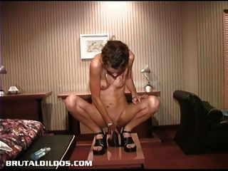 French Canadian Amateur Riding A Thick Brutal Dildo