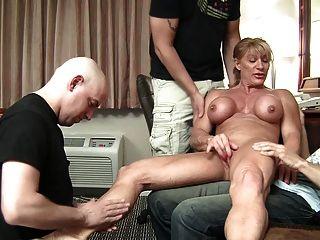 Buff Milf Vs 3 Cocks