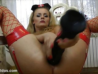 Nurse With A Huge Brutal Anal Dildo