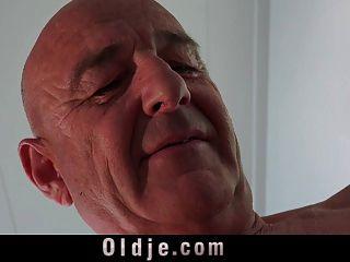 Bald Old Dude Fucking His Curvy Teeny Wife