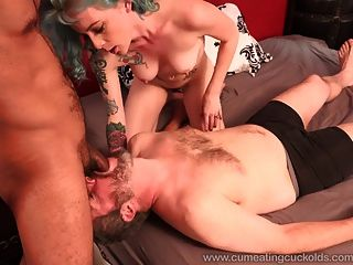 Wife Share A Cock With Husband And He Eats Cum