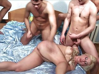 Blonde Mature Wife Gangbang