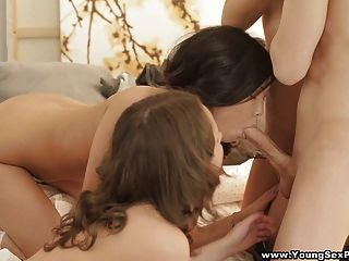 Young Sex Parties - Three Teens Share Hard Cock