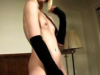 Blonde Cutie Jerking Off Her Big Cock