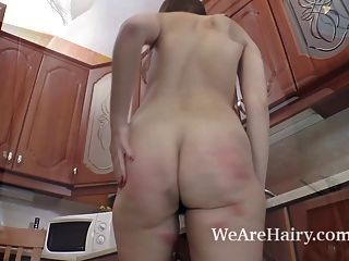 Agneta Strips In The Kitchen And Plays With A Toy