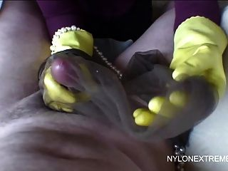 Handjob Using String Of Pearls And Nylon Stocking