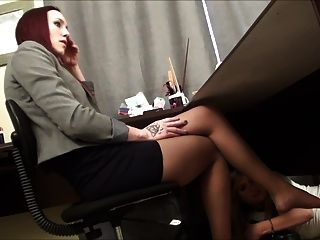 Caught Under Boss Desk Sniffing Feet