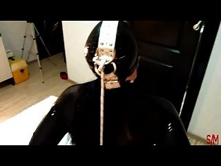 Intro - Black Latex Ring Gag Dildo & Cock Deepthroat & Fuck