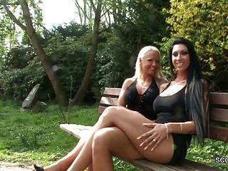 2 German Lesbian Teens Fuck Outdoor And Caught By Police