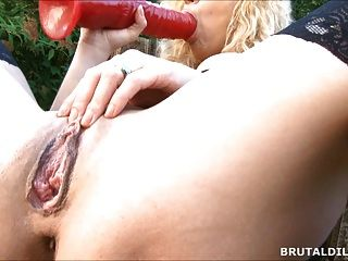 Huge Dildo Fucking Both Her Holes