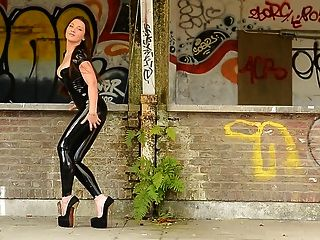 Julie Skyhigh Teasing In Latex Catsuit And Platform Heels