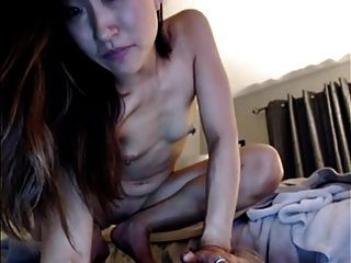 Asian Webcam Model Anal With Toy