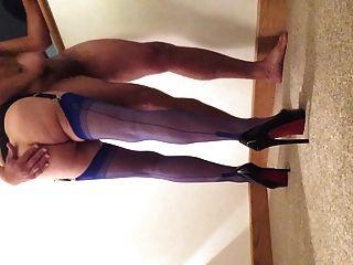 Blue Ffs Nylon Stockings Wife Handjob
