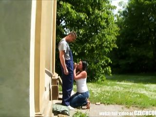 Czech Teen Convinced For Outdoor Public Sex