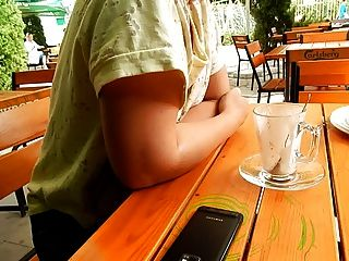 Flashing Hairy Tits In Cafe