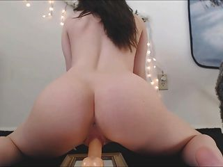Babe Alex Riding Mirror Mounted Dildo On Cam!