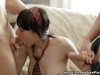 Young Sex Parties - Doubleteamed In Schoolgirl Uni