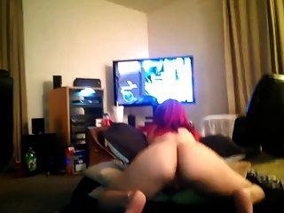 Hot Redhead Shakes Ass While Gaming
