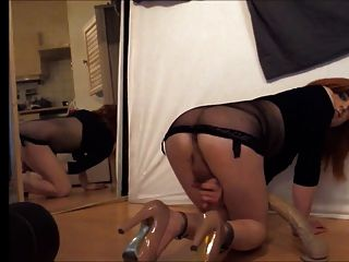Tgirl Ride Huge Dildo And Cums