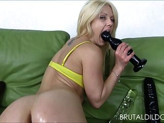 Blonde With Massive Anal Dildos