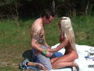German Teen Seduce To Fuck Outdoor By Stranger Voyeur