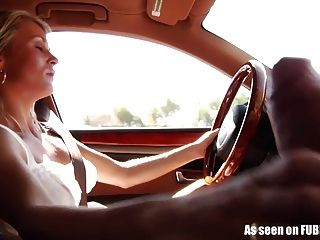 Girlfriend Gives Handjob While Driving