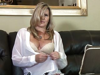 Hot British Mature Milf Masturbating On The Couch